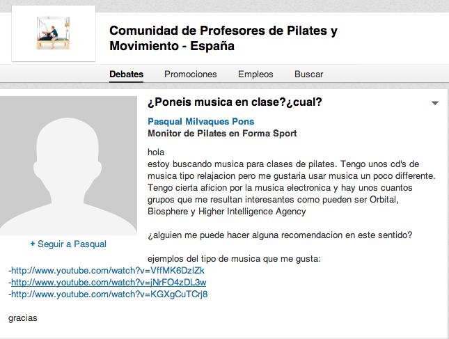 Debate en Linked In en la Comunidad de Profesores de Pilates y Movimiento