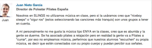 Respuesta Juan Nieto sobre si poner música en Pilates