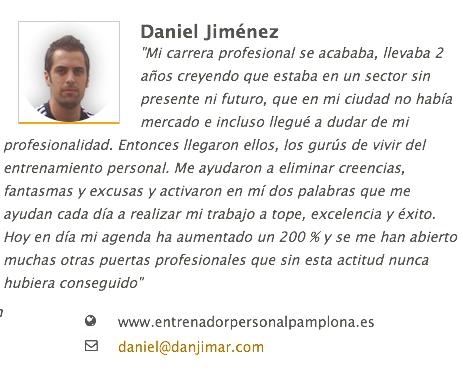 Testimonio de Daniel Jimenez del curso organizado por Alfredo Bastida