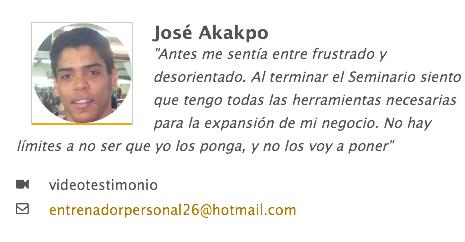 Testimonio de José Akakpo sobre su paso por Vivir del Entrenamiento Personal