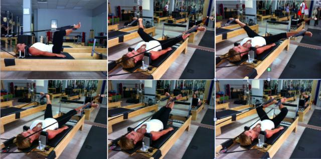 Variación del ejercicio de Pilates Frog con apertura de piernas