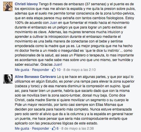 Debate sobre Pilates y Embarazo, opiniones en Facebook