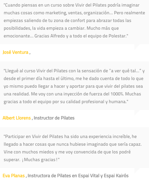 Testimonios de alumnos de Polestar Pilates